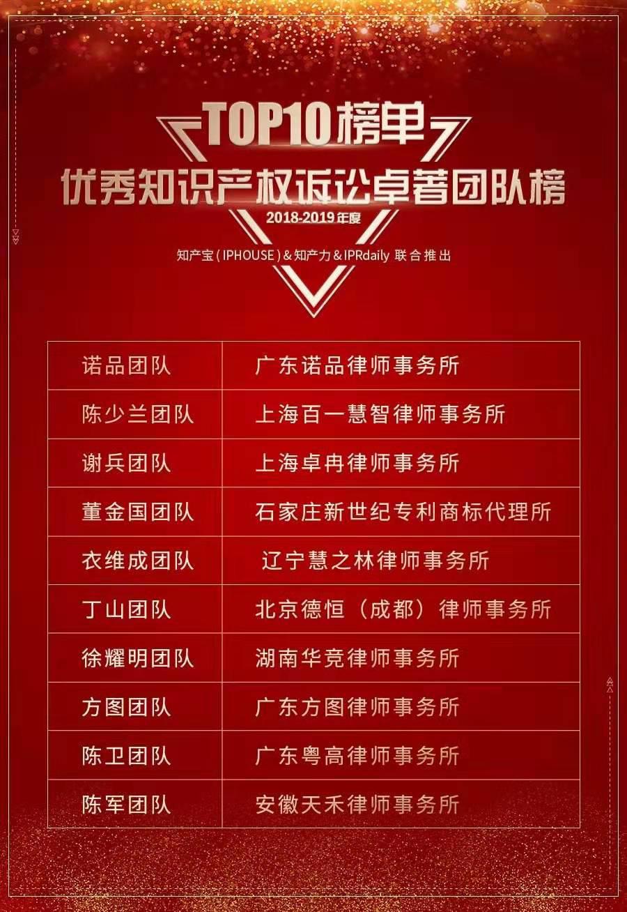 团队律师荣登2018-2019中国优秀知识产权诉讼卓著团队TOP10榜单